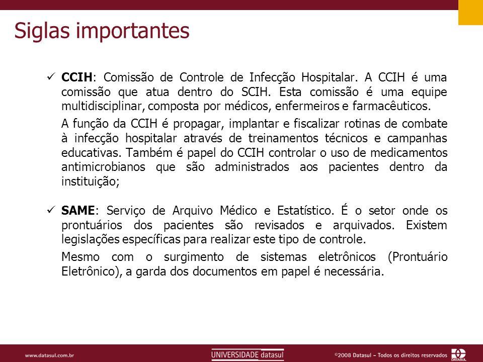 Siglas importantes CCIH: Comissão de Controle de Infecção Hospitalar.