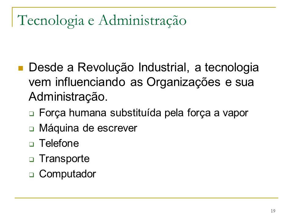 CEUT 19 Tecnologia e Administração Desde a Revolução Industrial, a tecnologia vem influenciando as Organizações e sua Administração.  Força humana su