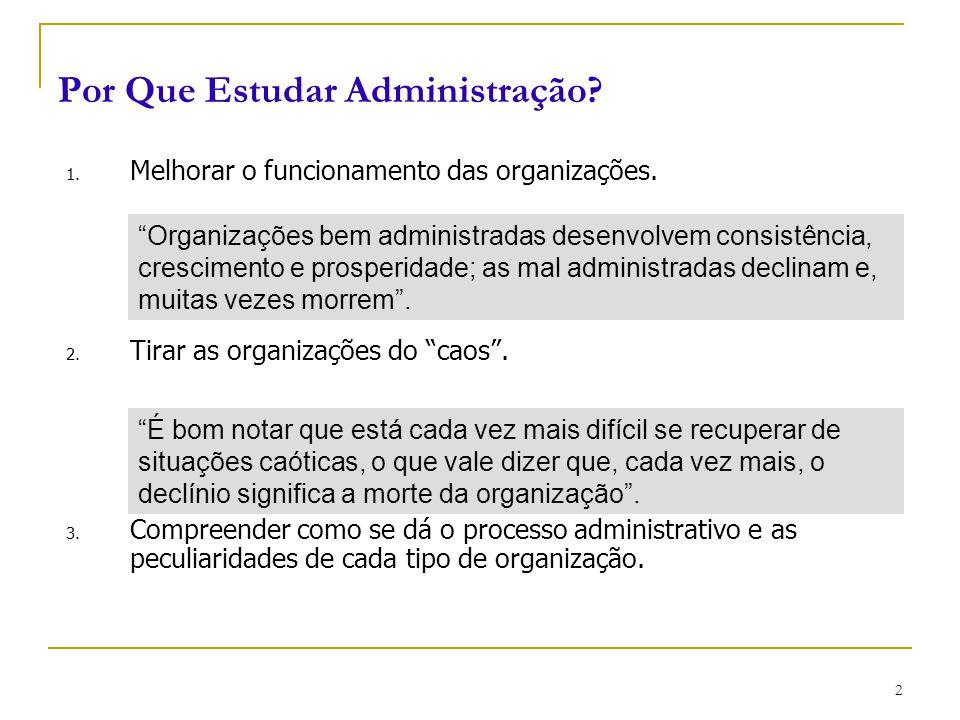 """CEUT 2 Por Que Estudar Administração? 1. Melhorar o funcionamento das organizações. 2. Tirar as organizações do """"caos"""". 3. Compreender como se dá o pr"""