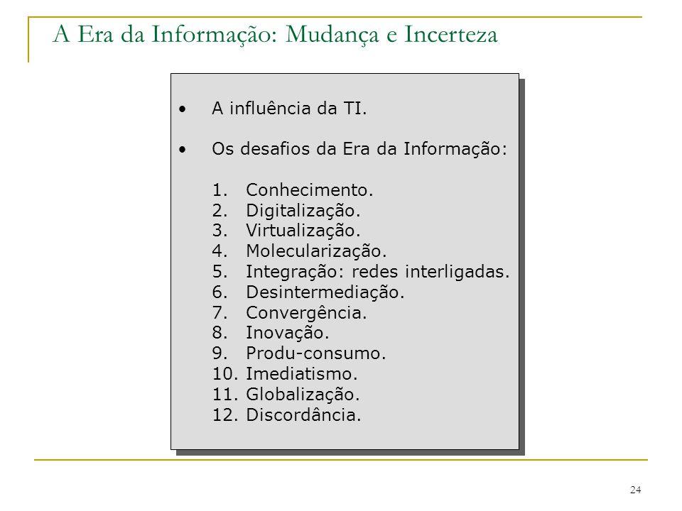 CEUT 24 A Era da Informação: Mudança e Incerteza A influência da TI. Os desafios da Era da Informação: 1.Conhecimento. 2.Digitalização. 3.Virtualizaçã