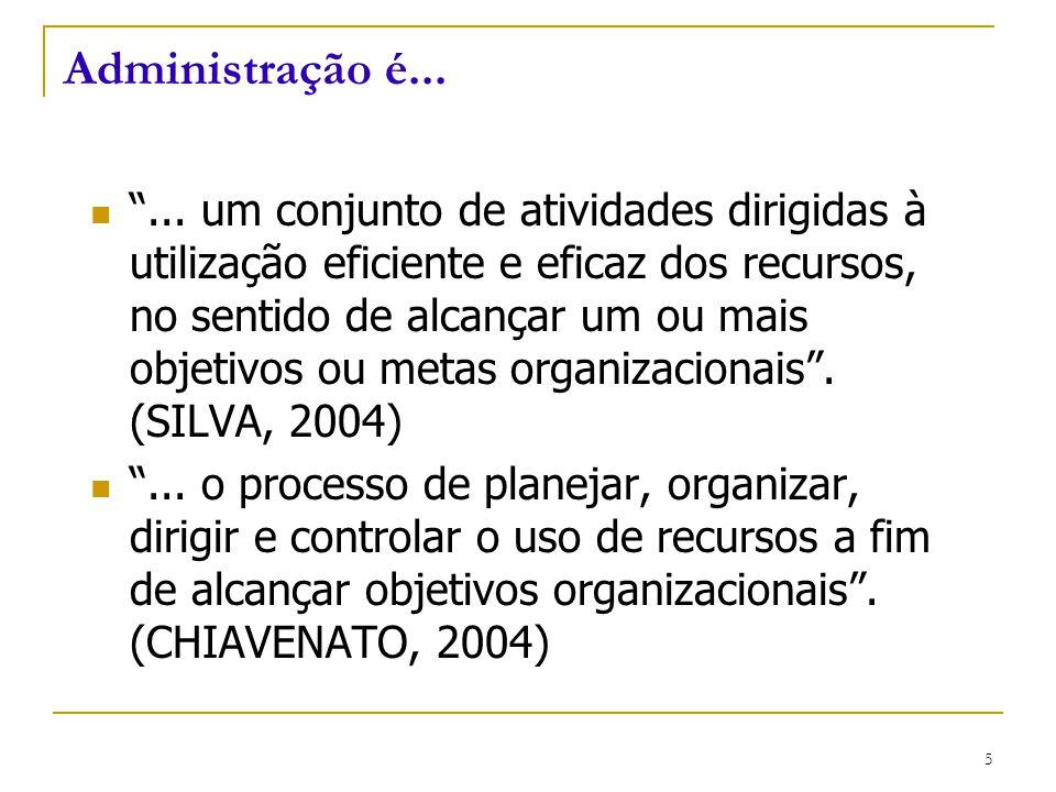 """CEUT 5 Administração é... """"... um conjunto de atividades dirigidas à utilização eficiente e eficaz dos recursos, no sentido de alcançar um ou mais obj"""