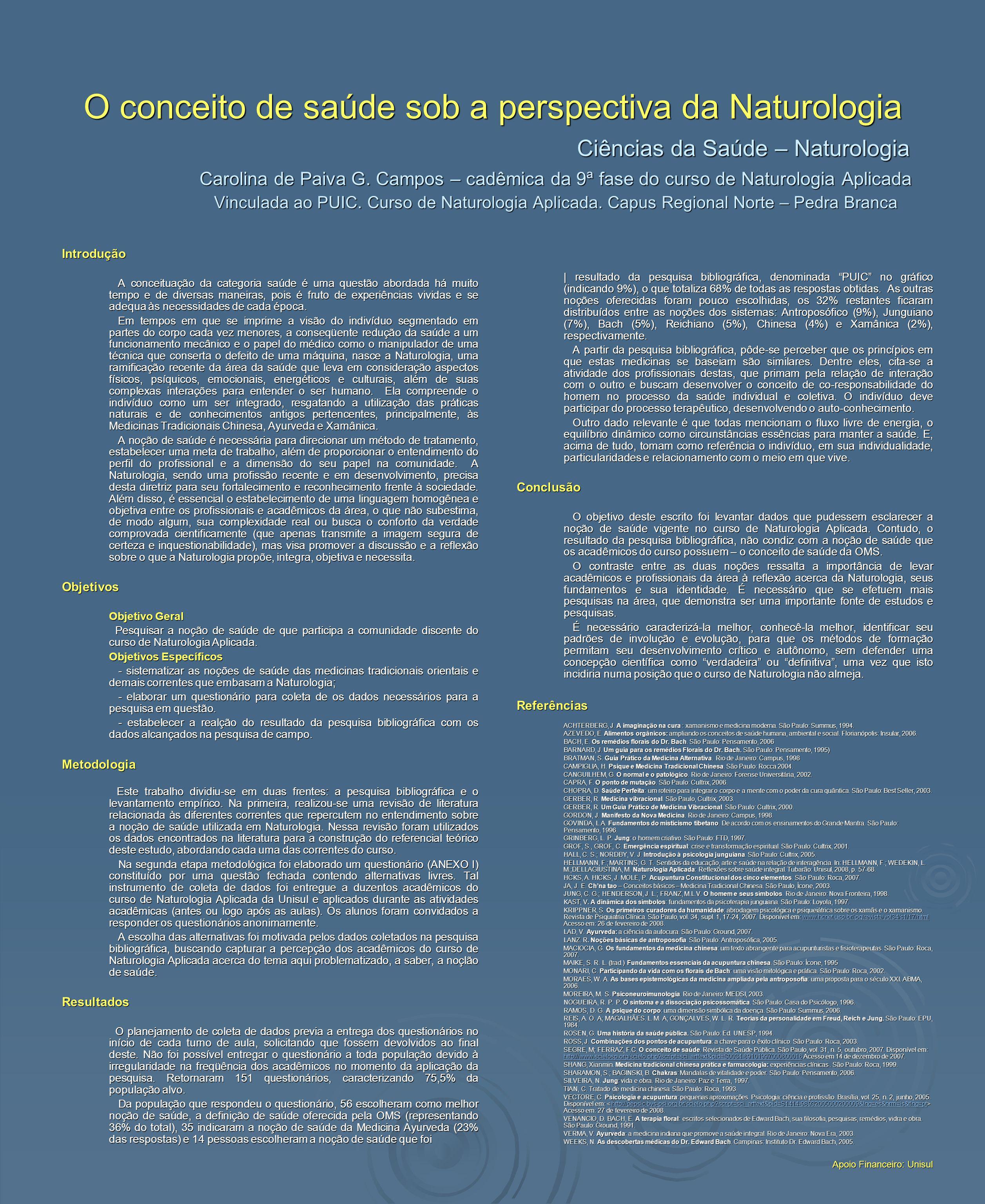 O conceito de saúde sob a perspectiva da Naturologia Ciências da Saúde – Naturologia Carolina de Paiva G. Campos – cadêmica da 9ª fase do curso de Nat