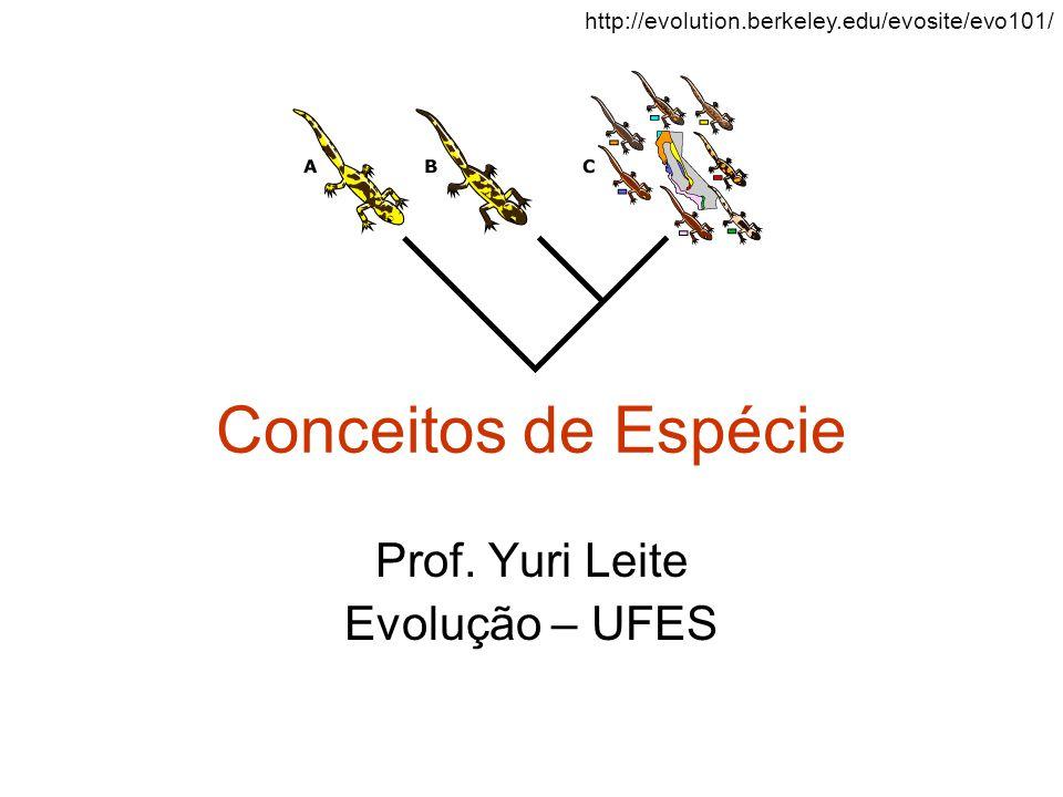 Conceitos de Espécie Prof. Yuri Leite Evolução – UFES http://evolution.berkeley.edu/evosite/evo101/