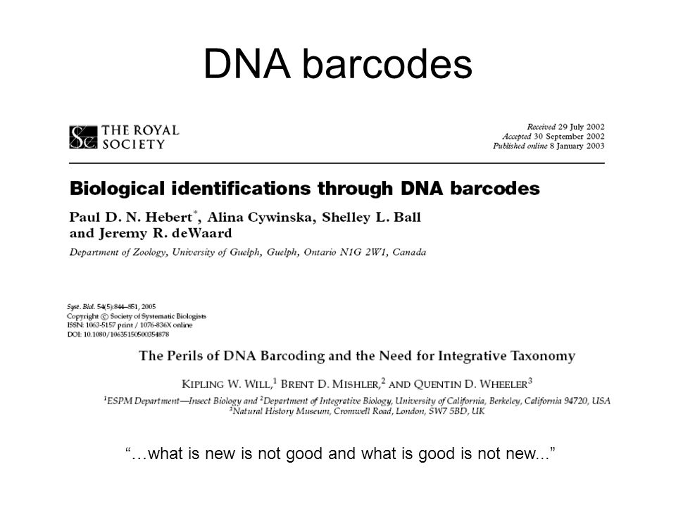 "DNA barcodes ""…what is new is not good and what is good is not new..."""