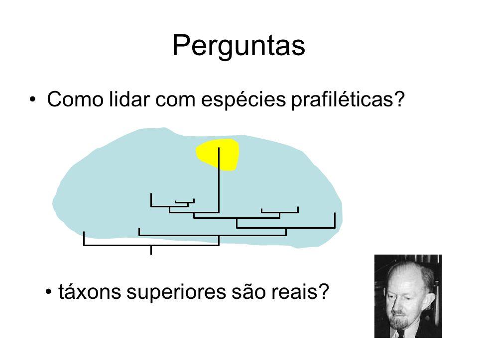 Perguntas Como lidar com espécies prafiléticas? táxons superiores são reais?