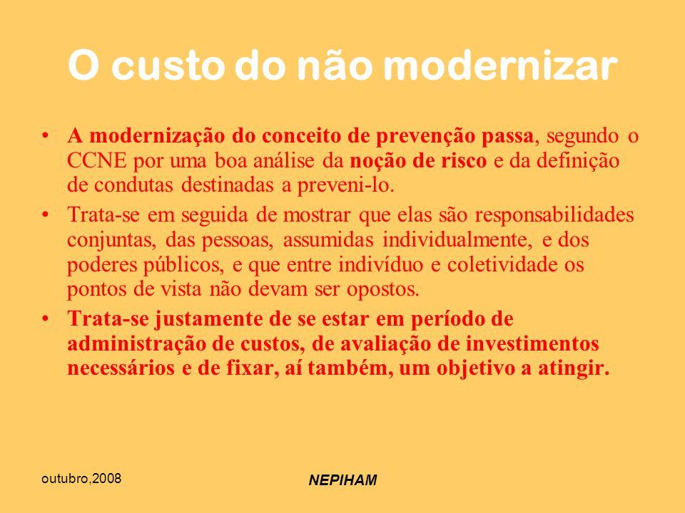 outubro,2008 NEPIHAM O custo do não modernizar A modernização do conceito de prevenção passa, segundo o CCNE por uma boa análise da noção de risco e da definição de condutas destinadas a preveni-lo.