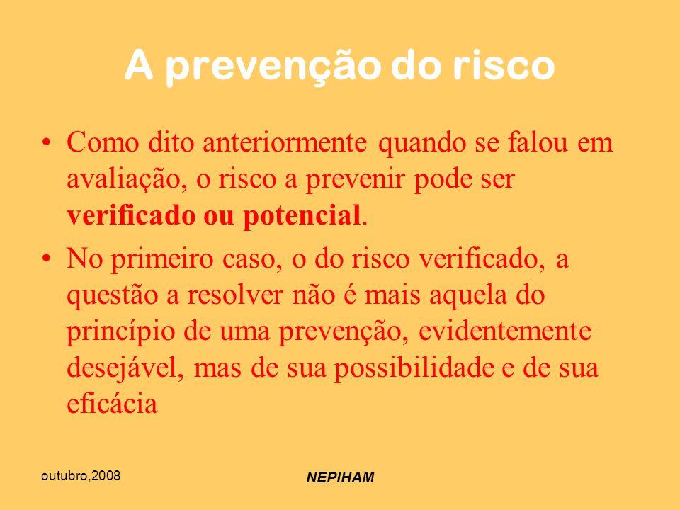 outubro,2008 NEPIHAM A prevenção do risco Como dito anteriormente quando se falou em avaliação, o risco a prevenir pode ser verificado ou potencial.