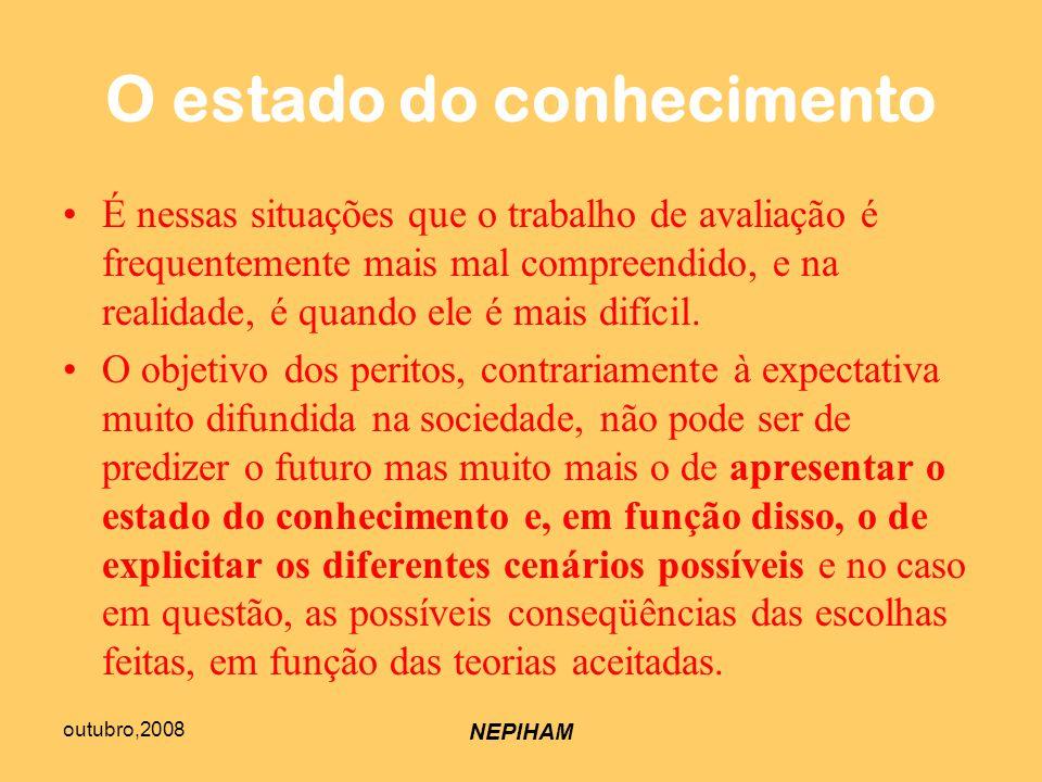 outubro,2008 NEPIHAM O estado do conhecimento É nessas situações que o trabalho de avaliação é frequentemente mais mal compreendido, e na realidade, é quando ele é mais difícil.