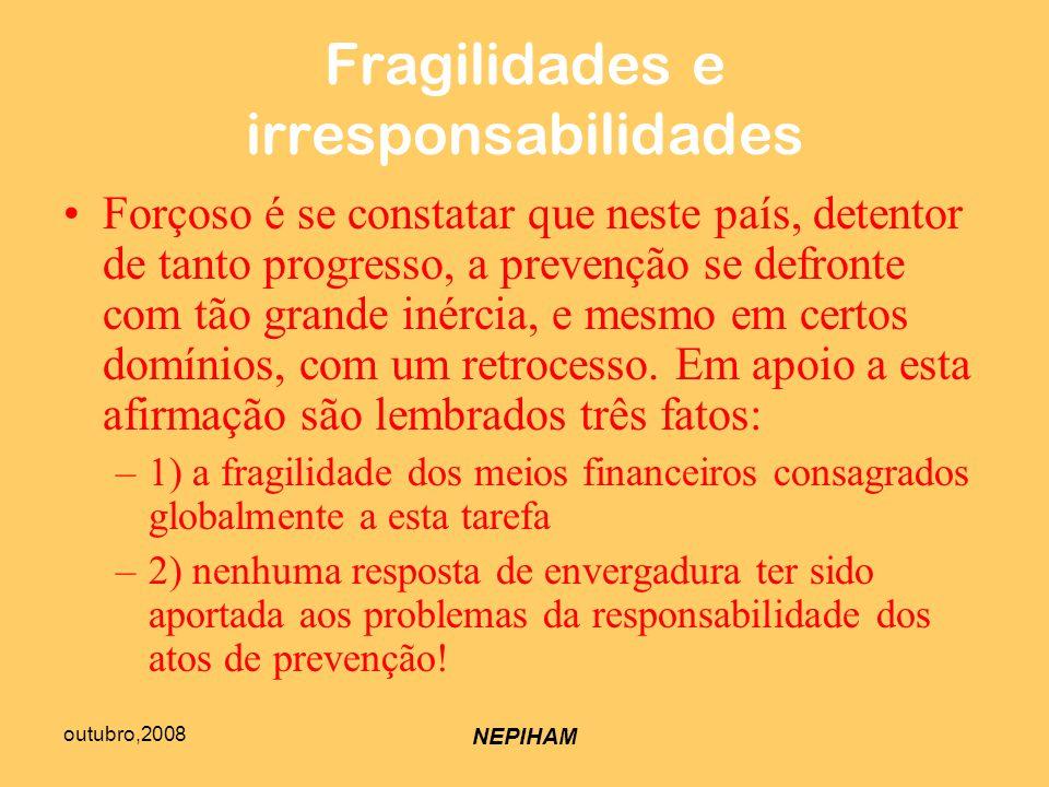 outubro,2008 NEPIHAM Fragilidades e irresponsabilidades Forçoso é se constatar que neste país, detentor de tanto progresso, a prevenção se defronte com tão grande inércia, e mesmo em certos domínios, com um retrocesso.