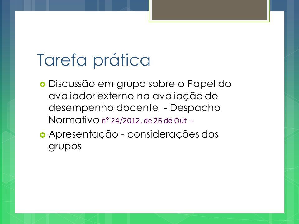 Tarefa prática  Discussão em grupo sobre o Papel do avaliador externo na avaliação do desempenho docente - Despacho Normativo n º 24/2012, de 26 de O