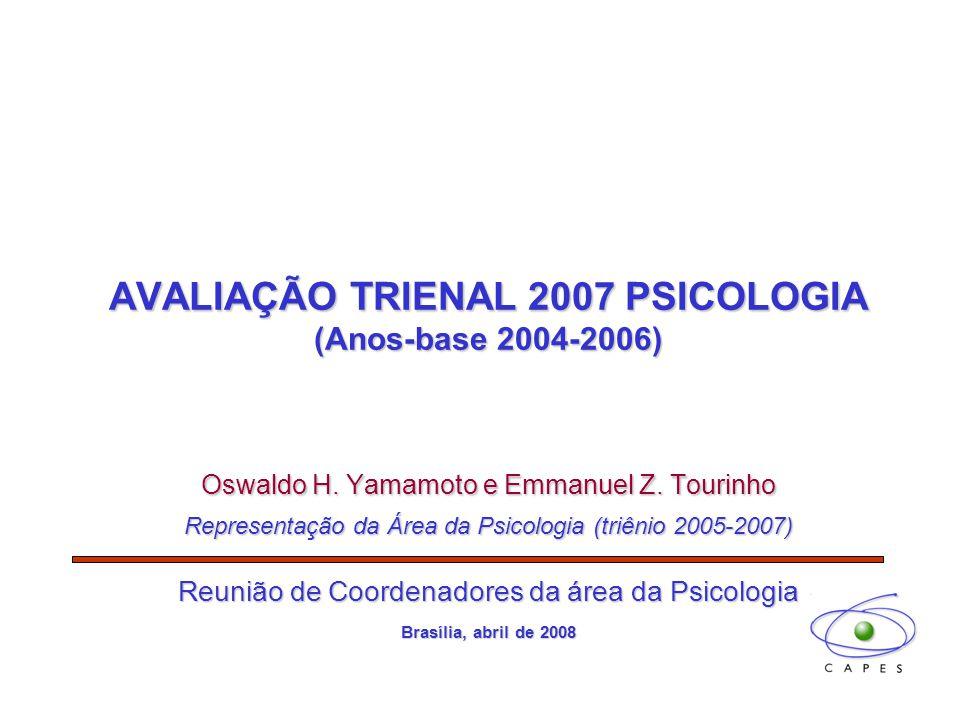AVALIAÇÃO TRIENAL 2007 PSICOLOGIA (Anos-base 2004-2006) Oswaldo H. Yamamoto e Emmanuel Z. Tourinho Representação da Área da Psicologia (triênio 2005-2