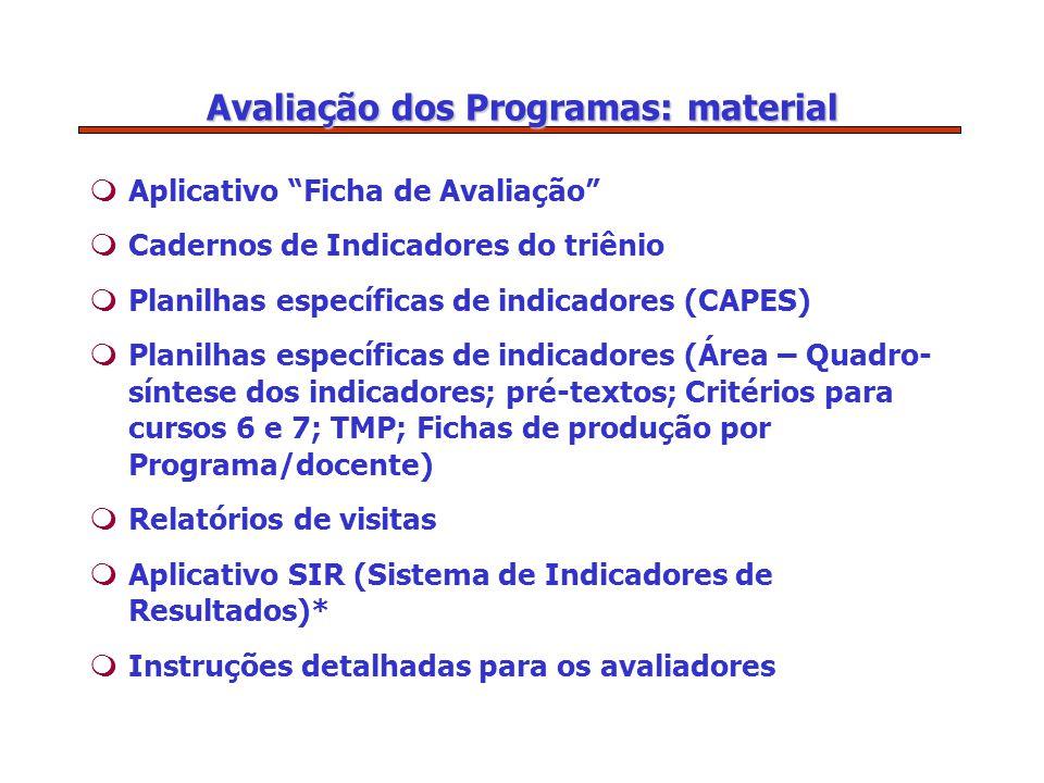 Avaliação dos Programas: material mAplicativo Ficha de Avaliação mCadernos de Indicadores do triênio mPlanilhas específicas de indicadores (CAPES) mPlanilhas específicas de indicadores (Área – Quadro- síntese dos indicadores; pré-textos; Critérios para cursos 6 e 7; TMP; Fichas de produção por Programa/docente) mRelatórios de visitas mAplicativo SIR (Sistema de Indicadores de Resultados)* mInstruções detalhadas para os avaliadores