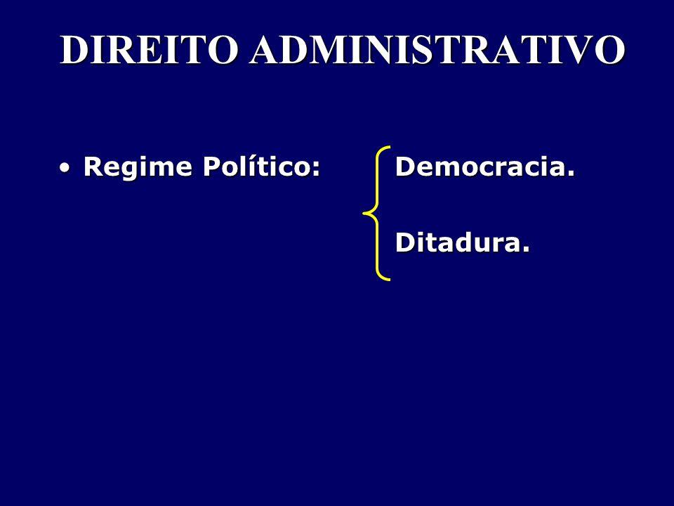 DIREITO ADMINISTRATIVO Regime Político: Democracia.Regime Político: Democracia. Ditadura. Ditadura.
