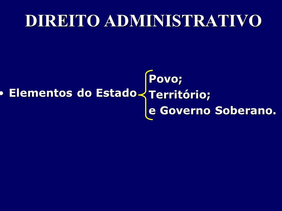 DIREITO ADMINISTRATIVO Elementos do EstadoElementos do Estado Povo;Território; e Governo Soberano.