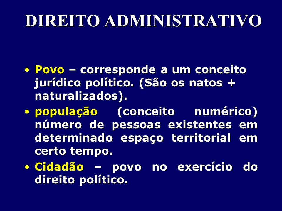 DIREITO ADMINISTRATIVO Povo – corresponde a um conceito jurídico político.