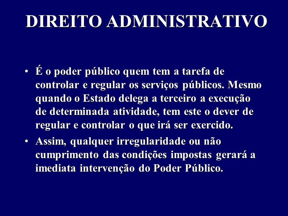DIREITO ADMINISTRATIVO É o poder público quem tem a tarefa de controlar e regular os serviços públicos.