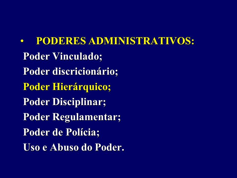 PODERES ADMINISTRATIVOS:PODERES ADMINISTRATIVOS: Poder Vinculado; Poder Vinculado; Poder discricionário; Poder discricionário; Poder Hierárquico; Poder Hierárquico; Poder Disciplinar; Poder Disciplinar; Poder Regulamentar; Poder Regulamentar; Poder de Polícia; Poder de Polícia; Uso e Abuso do Poder.