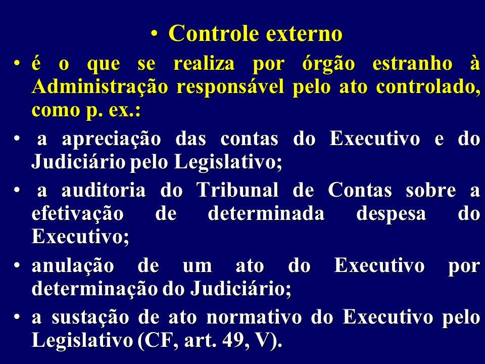 Controle externoControle externo é o que se realiza por órgão estranho à Administração responsável pelo ato controlado, como p.