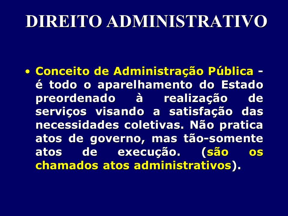 Conceito de Administração Pública - é todo o aparelhamento do Estado preordenado à realização de serviços visando a satisfação das necessidades coletivas.