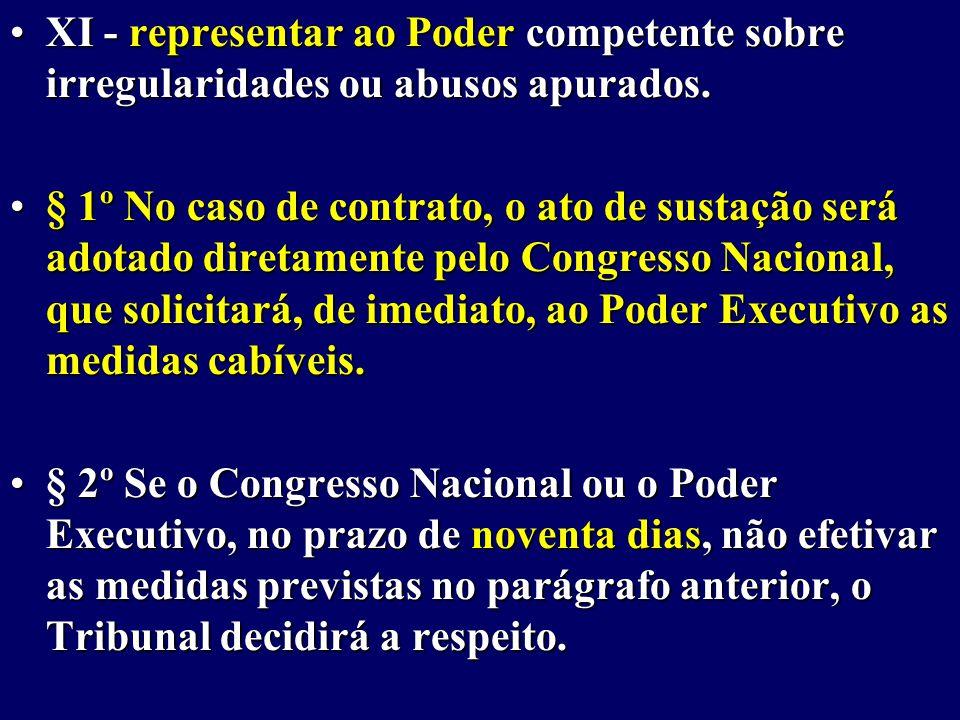 XI - representar ao Poder competente sobre irregularidades ou abusos apurados.XI - representar ao Poder competente sobre irregularidades ou abusos apurados.
