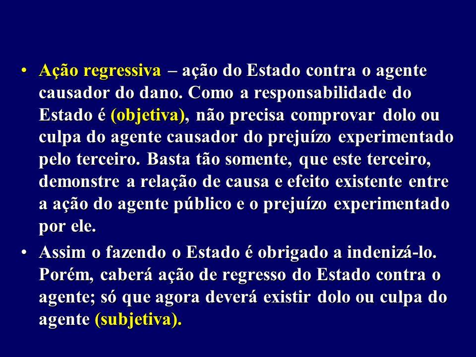 Ação regressiva – ação do Estado contra o agente causador do dano.