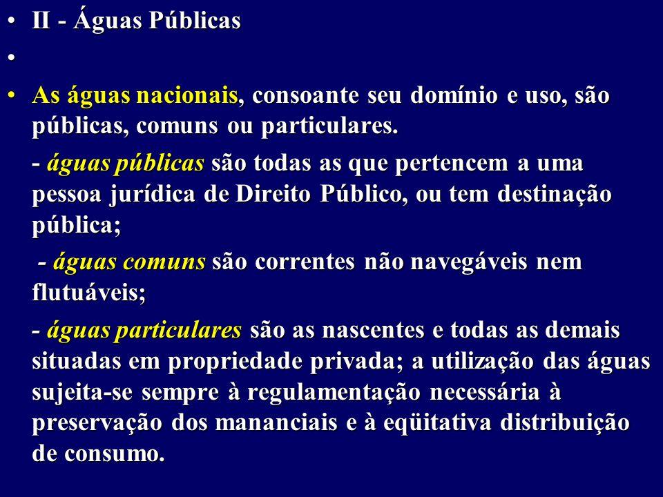 II - Águas PúblicasII - Águas Públicas As águas nacionais, consoante seu domínio e uso, são públicas, comuns ou particulares.As águas nacionais, consoante seu domínio e uso, são públicas, comuns ou particulares.