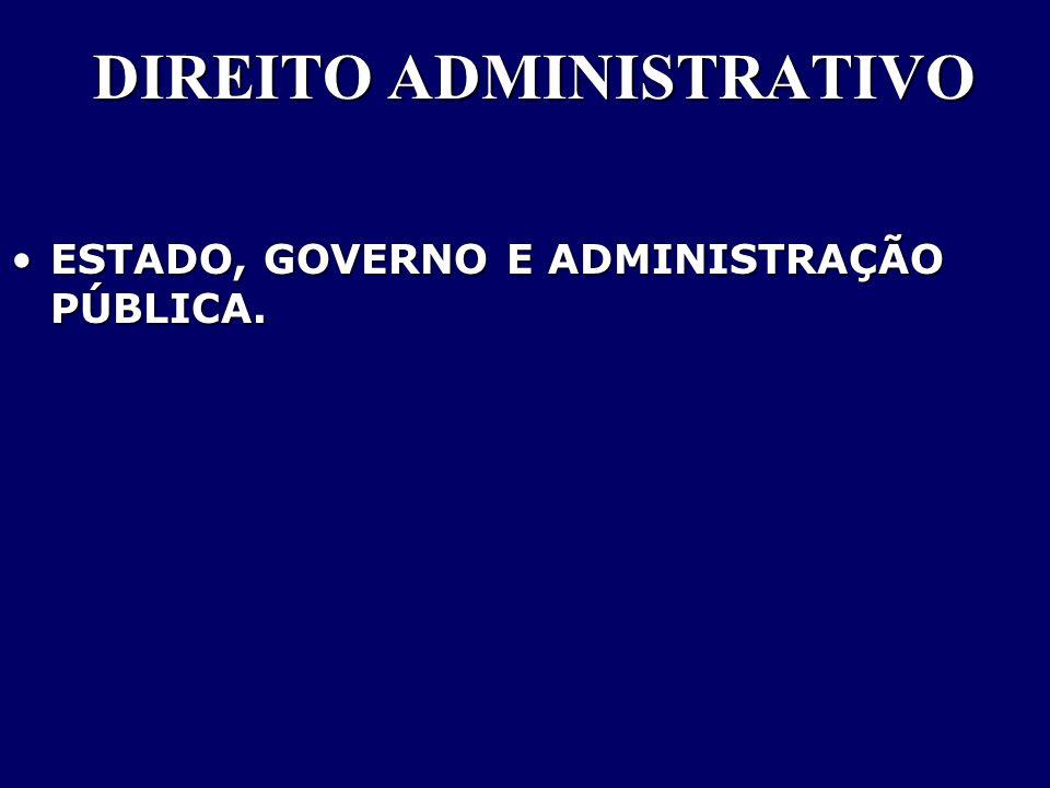 DIREITO ADMINISTRATIVO ESTADO, GOVERNO E ADMINISTRAÇÃO PÚBLICA.ESTADO, GOVERNO E ADMINISTRAÇÃO PÚBLICA.