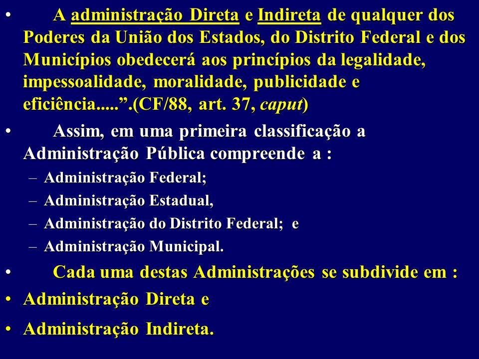A administração Direta e Indireta de qualquer dos Poderes da União dos Estados, do Distrito Federal e dos Municípios obedecerá aos princípios da legalidade, impessoalidade, moralidade, publicidade e eficiência..... .(CF/88, art.