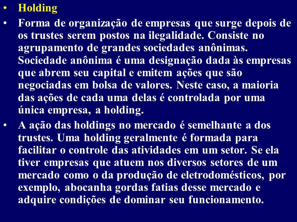 Holding Forma de organização de empresas que surge depois de os trustes serem postos na ilegalidade.