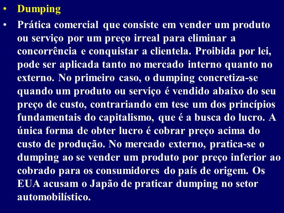 Dumping Prática comercial que consiste em vender um produto ou serviço por um preço irreal para eliminar a concorrência e conquistar a clientela.