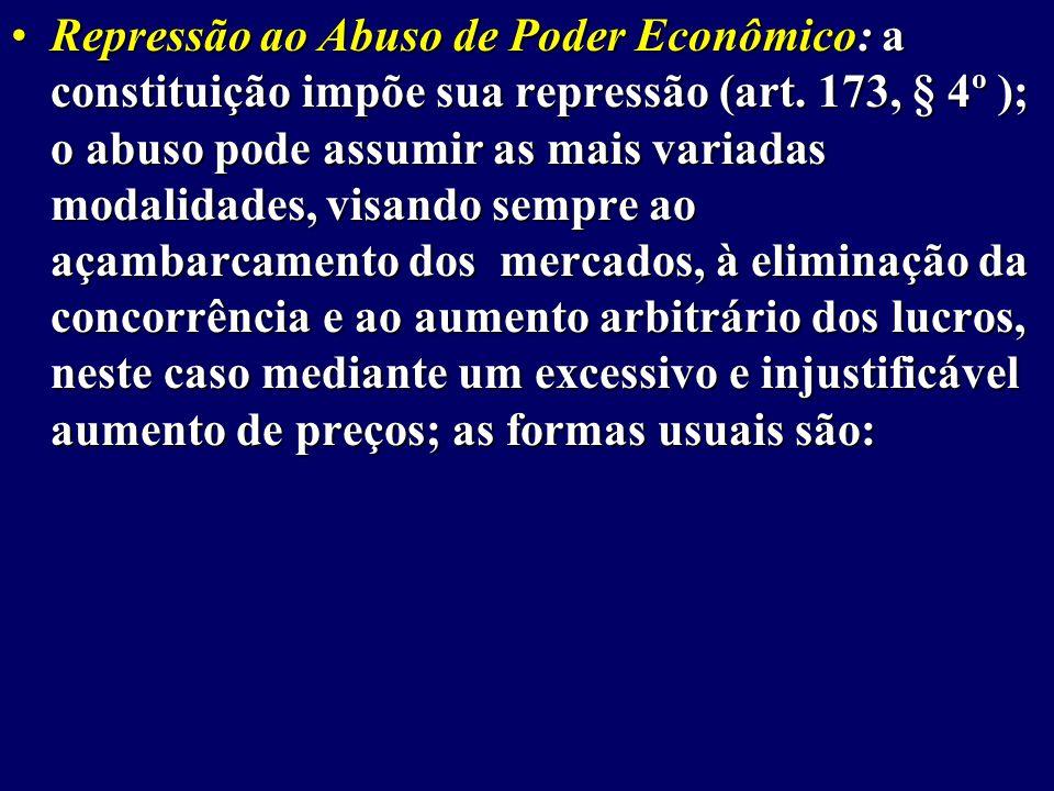 Repressão ao Abuso de Poder Econômico: a constituição impõe sua repressão (art.