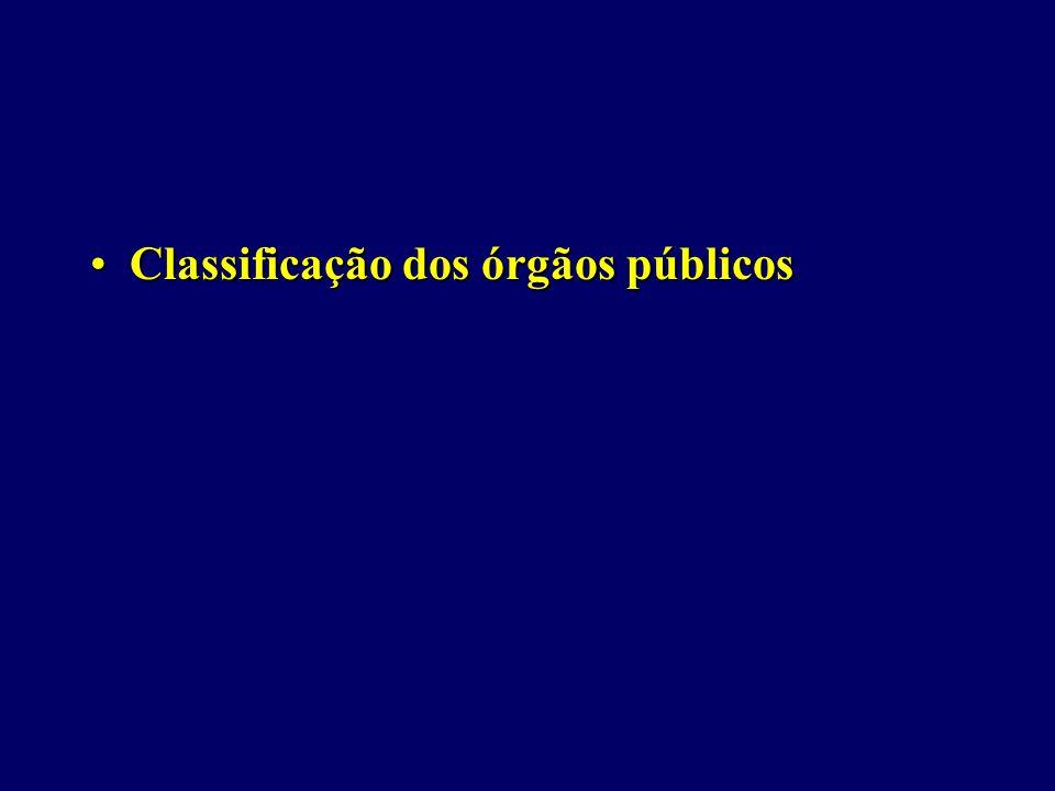 Classificação dos órgãos públicosClassificação dos órgãos públicos