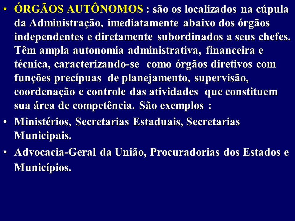 ÓRGÃOS AUTÔNOMOS : são os localizados na cúpula da Administração, imediatamente abaixo dos órgãos independentes e diretamente subordinados a seus chefes.