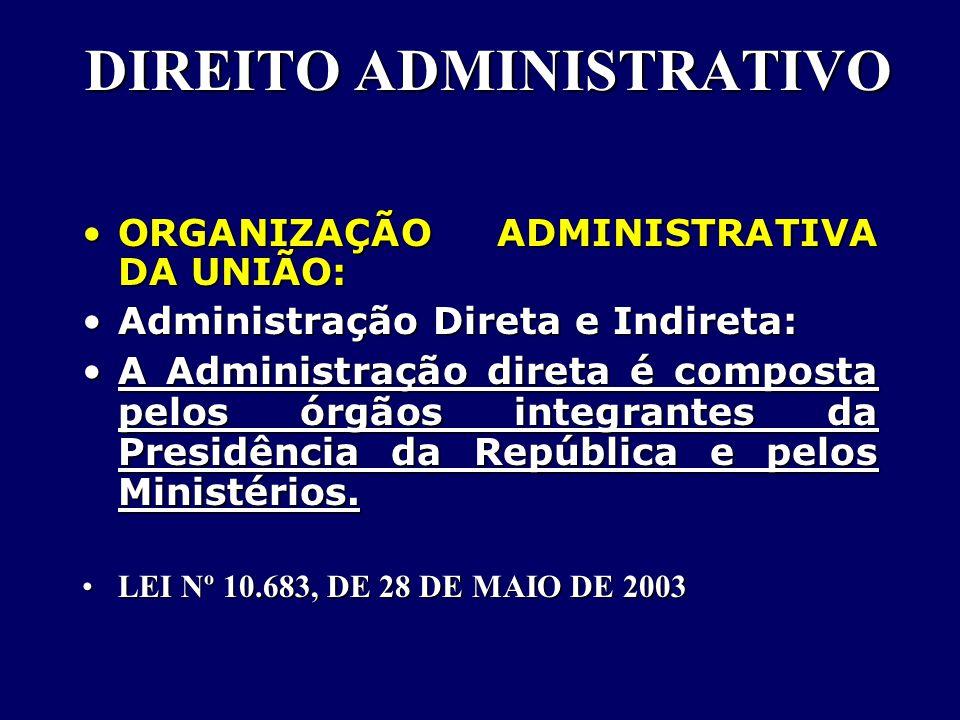DIREITO ADMINISTRATIVO ORGANIZAÇÃO ADMINISTRATIVA DA UNIÃO:ORGANIZAÇÃO ADMINISTRATIVA DA UNIÃO: Administração Direta e Indireta:Administração Direta e Indireta: A Administração direta é composta pelos órgãos integrantes da Presidência da República e pelos Ministérios.A Administração direta é composta pelos órgãos integrantes da Presidência da República e pelos Ministérios.