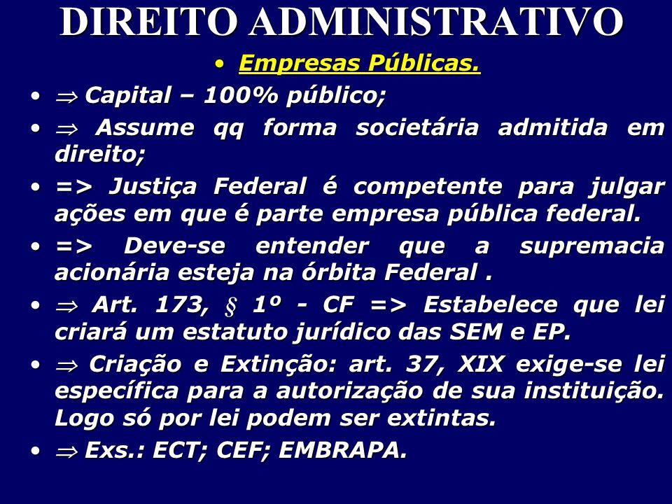 DIREITO ADMINISTRATIVO Empresas Públicas.Empresas Públicas.