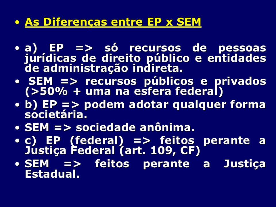As Diferenças entre EP x SEMAs Diferenças entre EP x SEM a) EP => só recursos de pessoas jurídicas de direito público e entidades de administração indireta.a) EP => só recursos de pessoas jurídicas de direito público e entidades de administração indireta.
