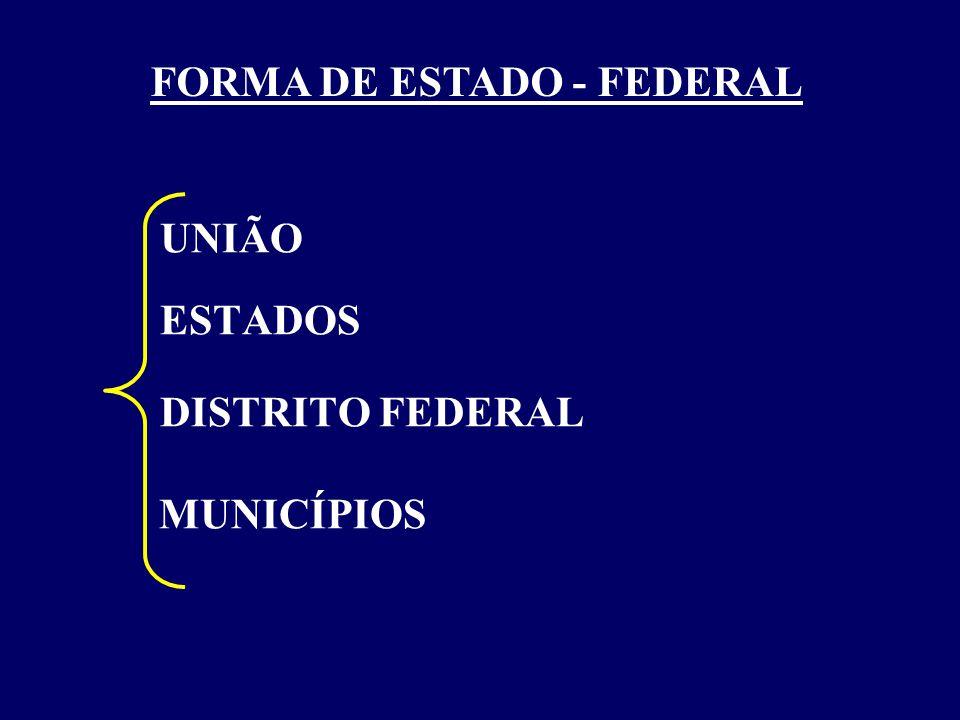 UNIÃO ESTADOS DISTRITO FEDERAL MUNICÍPIOS FORMA DE ESTADO - FEDERAL