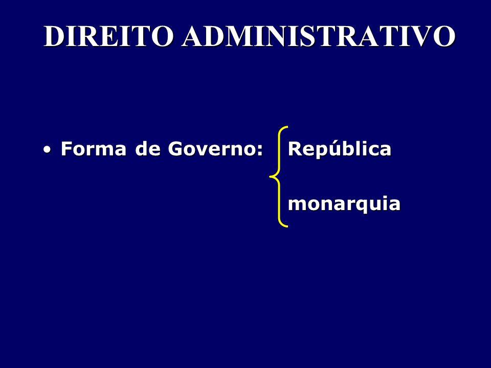 DIREITO ADMINISTRATIVO Forma de Governo: RepúblicaForma de Governo: Repúblicamonarquia