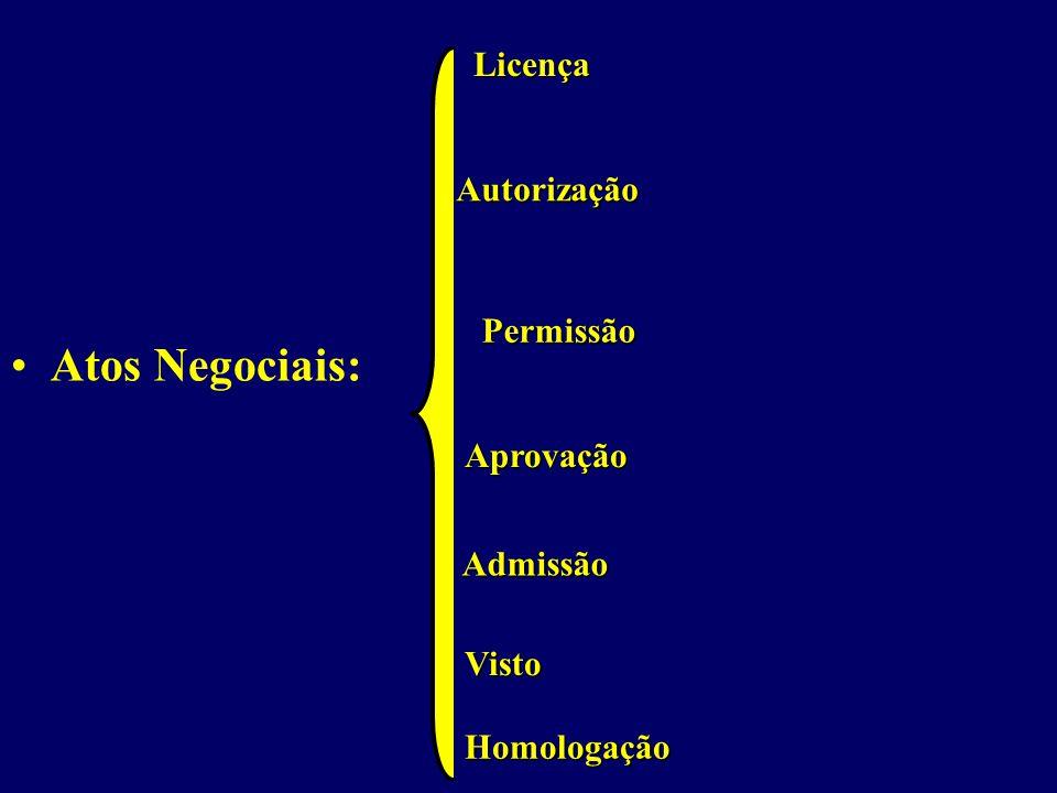 Atos Negociais: Licença Autorização Permissão Aprovação Admissão Visto Homologação