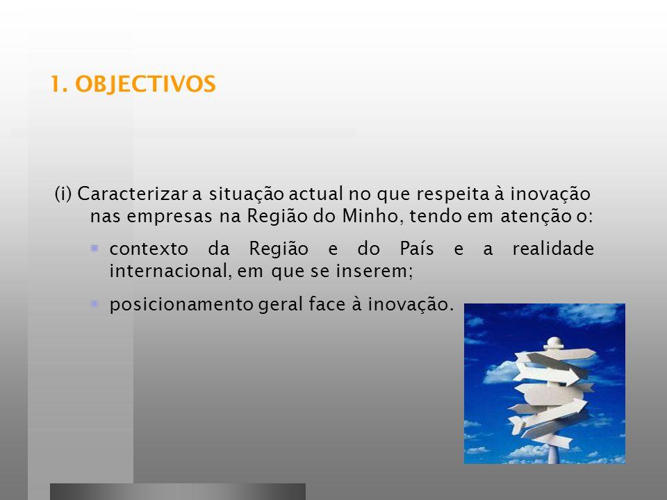 1. OBJECTIVOS (i) Caracterizar a situação actual no que respeita à inovação nas empresas na Região do Minho, tendo em atenção o: contexto da Região e