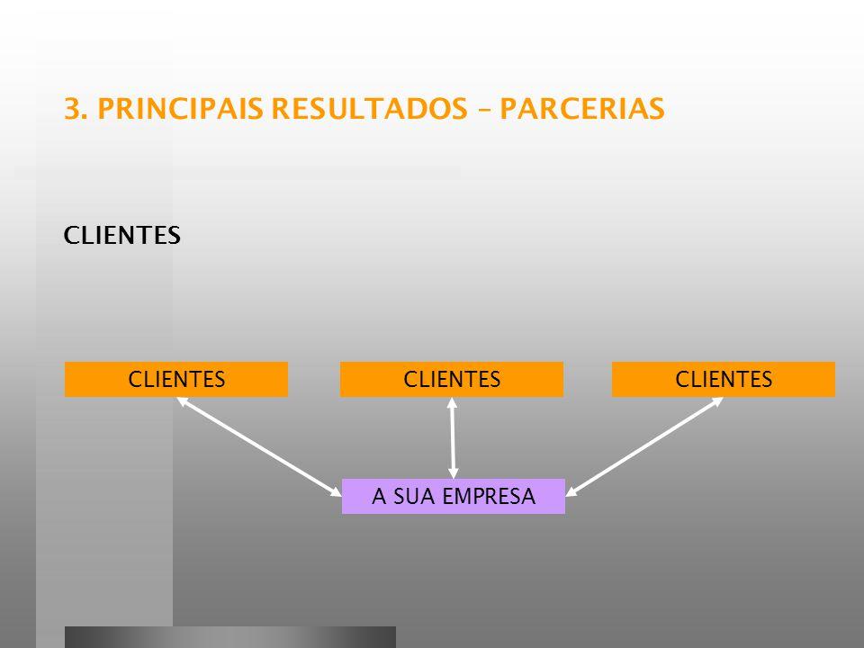 CLIENTES A SUA EMPRESA CLIENTES 3. PRINCIPAIS RESULTADOS – PARCERIAS