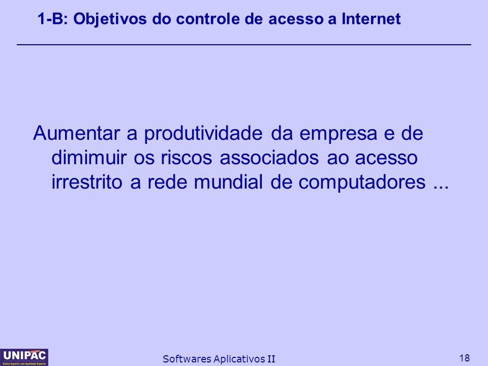 18 Softwares Aplicativos II 1-B: Objetivos do controle de acesso a Internet Aumentar a produtividade da empresa e de dimimuir os riscos associados ao