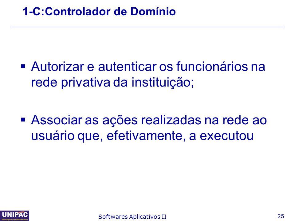 25 Softwares Aplicativos II 1-C:Controlador de Domínio  Autorizar e autenticar os funcionários na rede privativa da instituição;  Associar as ações