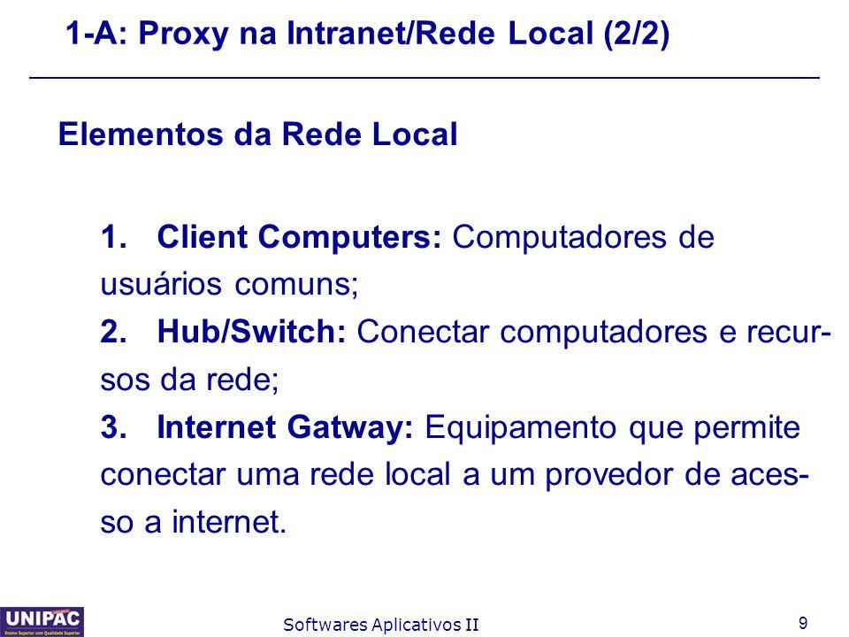 10 Softwares Aplicativos II 1-A: Proxy (Sem CACHE) 1.O usuário solicita uma página; 2.O Proxy intercepta a solicitação do usu- ário e passa a representá-lo no meio externo (Internet); 3.O Proxy localiza/busca a página na Internet; 4.A página é baixada da Internet pelo Proxy e entregue ao usuário que solicitou;