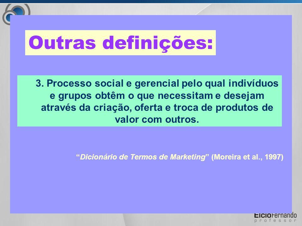 2. Processo de planejamento, execução, preço, comunicação e distribuição de idéias, bens e serviços de modo a criar as trocas que satisfaçam objetivos