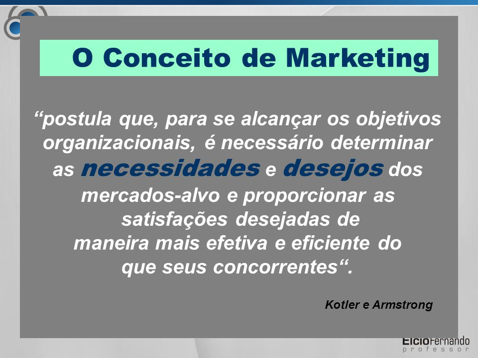 O Conceito de Marketing postula que, para se alcançar os objetivos organizacionais, é necessário determinar as necessidades e desejos dos mercados-alvo e proporcionar as satisfações desejadas de maneira mais efetiva e eficiente do que seus concorrentes .