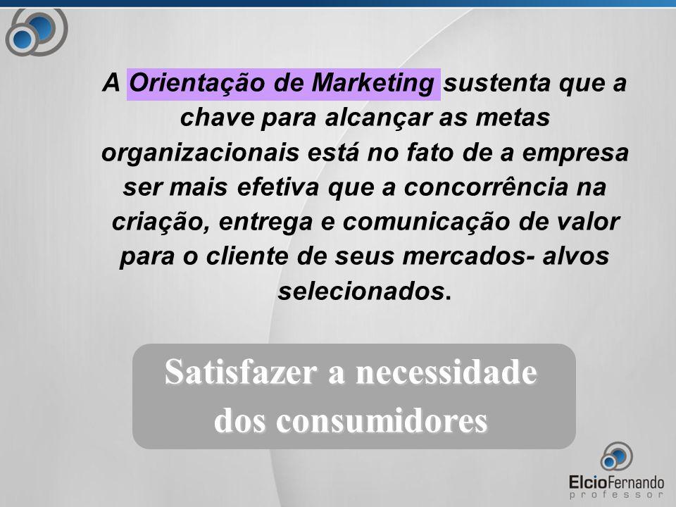 Satisfazer a necessidade dos consumidores A Orientação de Marketing sustenta que a chave para alcançar as metas organizacionais está no fato de a empresa ser mais efetiva que a concorrência na criação, entrega e comunicação de valor para o cliente de seus mercados- alvos selecionados.