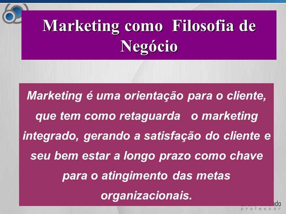Marketing é uma orientação para o cliente, que tem como retaguarda o marketing integrado, gerando a satisfação do cliente e seu bem estar a longo prazo como chave para o atingimento das metas organizacionais.