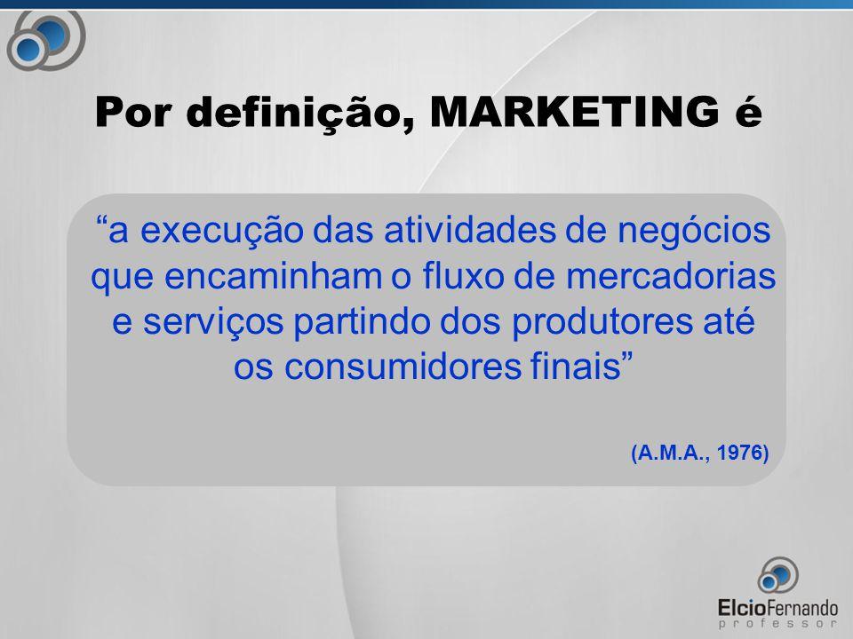 a execução das atividades de negócios que encaminham o fluxo de mercadorias e serviços partindo dos produtores até os consumidores finais (A.M.A., 1976) Por definição, MARKETING é