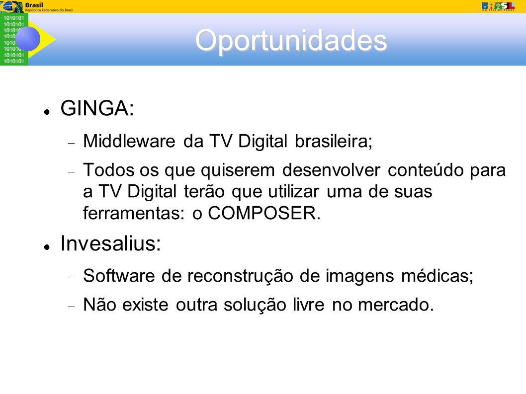 1010101 Oportunidades GINGA:  Middleware da TV Digital brasileira;  Todos os que quiserem desenvolver conteúdo para a TV Digital terão que utilizar uma de suas ferramentas: o COMPOSER.